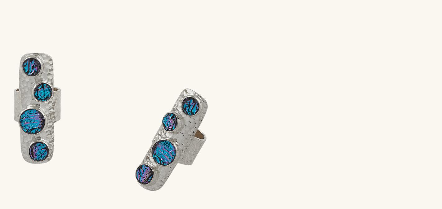 Unikke sølv ringe med dichroic glas